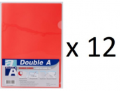 Double A - A4 L型膠快勞(單層)/紅色 x 12個