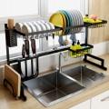 Milan-不銹鋼廚房置物架水槽碗碟架瀝水碗架碗碟架廚房用品收納架(尺寸:82cmX33cmX11cm)餐具收納架