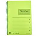GAMBOL WCN-DS1798 B5 雙線圈透明PP面單行簿(80頁)
