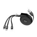 HOCO - U50 一拖三 雙拉充電線 Lightning / Micro-USB / Type-C 線長1m 2A快充