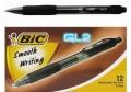 BIC - GL2 0.5mm 透明筆桿按掣式啫喱筆 - 黑色 1盒12支裝 (倉存2盒)