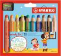 Woody 3in1 10's/bo w/sharpener STABILO - 880/10-2 - Woody多用途3合一顏色筆-10色連專用筆刨1個