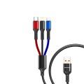 AWEI - Cl971 加粗充電線 2.4A快速充 三合一數據線 三色編織繩 1.2M
